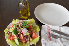 Healthy salad with Octopus and vegetables Stock Photography
