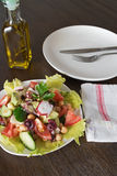 Healthy salad with Octopus and vegetables Royalty Free Stock Photography