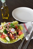 Healthy salad with Octopus and vegetables Royalty Free Stock Photo