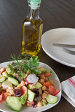 Healthy salad with Octopus and vegetables Stock Photos