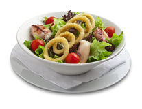 Healthy salad with onion rings and grilled chiken Royalty Free Stock Images