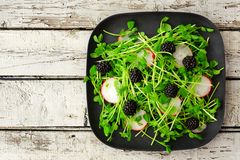 Healthy salad with pea shoots, radishes, blackberries. On black square plate against rustic white wood Stock Photo
