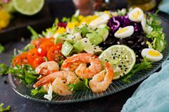 Healthy salad plate. Fresh seafood recipe. Grilled shrimps and fresh vegetable salad - avocado, tomato, black beans, red cabbage a. Nd paprika. Grilled prawns Royalty Free Stock Photos