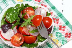 Healthy salad on a plate. Healthy tasty salad with dressing on a plate. Shallow DOF stock photos