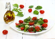 Healthy salad on a plate. Healthy tasty salad with dressing on a plate. Shallow DOF stock images