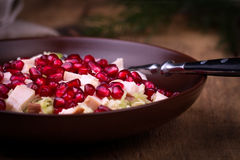 Healthy salad with pomegranate seeds, chicken and cabbage. Stock Photography