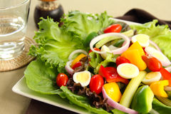 Healthy salad with quail eggs Royalty Free Stock Photography
