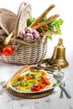 Healthy salad with salmon and fresh vegetables Royalty Free Stock Image