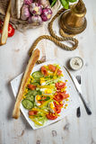 Healthy salad with salmon and vegetables Stock Photography