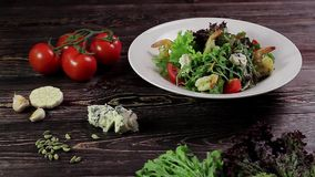 Healthy salad with shrimps. stock video footage