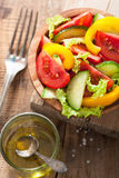 Healthy salad with tomatoes cucumber and pepper Stock Image