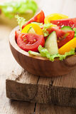 Healthy salad with tomatoes cucumber and pepper Royalty Free Stock Photos