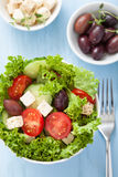 Healthy salad with tomatoes olives and feta cheese Royalty Free Stock Image
