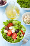 Healthy salad with tomatoes olives and feta cheese Royalty Free Stock Images