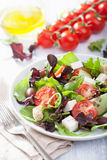 Healthy salad with tomatoes olives and feta cheese Royalty Free Stock Photo