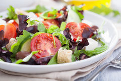 Healthy salad with tomatoes olives and feta cheese Royalty Free Stock Photography