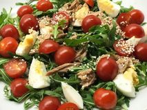 Healthy salad of tuna, tomato, eggs, arugula. stock photography