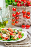 Healthy salad with vegetables, pasta and croutons Royalty Free Stock Photos