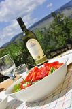 Healthy salad and wine, picnic. In the mountains Royalty Free Stock Photography