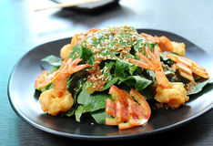 Healthy Salad With Shrimps Stock Photo