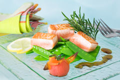 Healthy Salmon. Short cooked salmon with snow peas and roasted tomato Royalty Free Stock Image