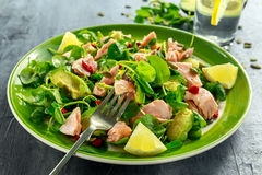 Healthy Salmon, Avocado salad with watercress and goji berries, pumpkin seed mix on green plate.  Royalty Free Stock Photography
