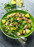 Healthy Salmon, Avocado salad with watercress and goji berries, pumpkin seed mix on green plate.  Stock Images