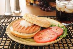 Healthy salmon burger Stock Photos
