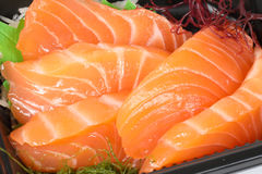 Healthy Salmon Colorful Sushi. Salmon Sushi colorful tasty variety healthy Japanese food Stock Photography
