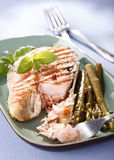 Healthy salmon. Healthy grilled salmon with asparagus Royalty Free Stock Photography