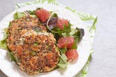 Healthy salmon quinoa kale burger Royalty Free Stock Photos