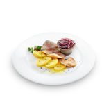 Healthy salted herring with baked potatoes, onion and fennel Stock Image
