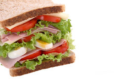 Healthy sandwich. With lettuce, tomato, ham and cheese stock photography