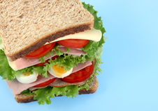 Healthy sandwich. With tomato, lettuce, egg royalty free stock photo