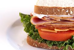 Healthy Sandwich. With turkey, ham, cheese, mayo, lettuce, tomatoe on whole grain bread Stock Image