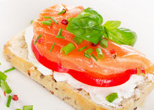 Healthy Sandwich with cereals bread and salmon on   plate. Stock Image