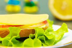 Healthy sandwich with cheese, salad and apple Stock Photos