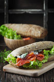 Healthy sandwich with cheese and salmon Stock Photography