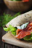 Healthy sandwich with cheese and salmon Royalty Free Stock Images