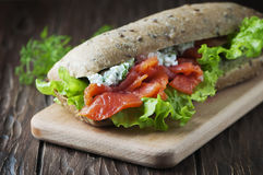 Healthy sandwich with cheese and salmon Stock Images