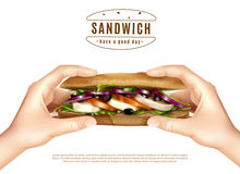 Healthy Sandwich In Hands Realistic Image Royalty Free Stock Image