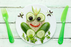 Healthy sandwich for kids shaped princess frog Royalty Free Stock Photography