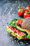 Healthy sandwich making Royalty Free Stock Photography