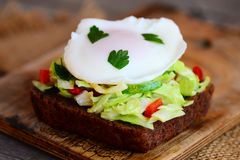 Tasty poached egg sandwich. Easy poached egg on rye bread slice with fresh vegetable mix and parsley. Fast healthy breakfast idea Royalty Free Stock Images