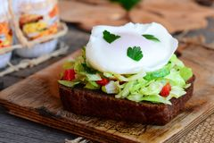 Poached egg toast sandwich. A poached egg on a rye bread slice with coleslaw, cucumber, red pepper and fresh parsley. Healthy sandwich recipe. Easy healthy Royalty Free Stock Images