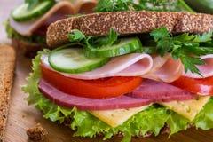 Healthy sandwich on rye bread Royalty Free Stock Photo