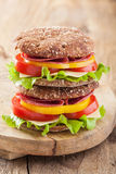 Healthy sandwich with salami tomato pepper and lettuce Royalty Free Stock Photos