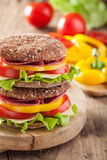 Healthy sandwich with salami tomato pepper and lettuce Stock Image