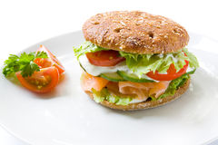 Healthy sandwich with salmon. A healthy burger with a rye bun and salmon on a white plate royalty free stock photos
