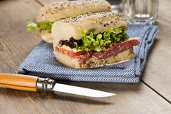 Healthy sandwich served on table Royalty Free Stock Photos
